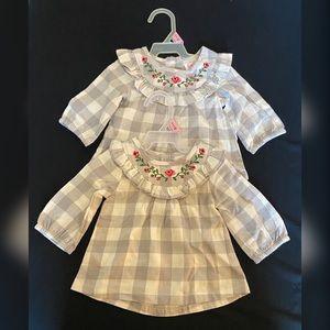 Twin babygirl Buffalo plaid Tunic (2 included)